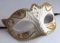 Ivory and Gold Fabiola Mask